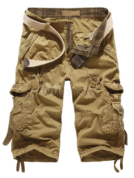Khaki Pockets Cotton Shorts for Men
