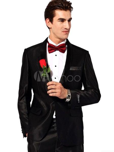 Black Groom Buttons Satin Chic Wedding Suit for Men