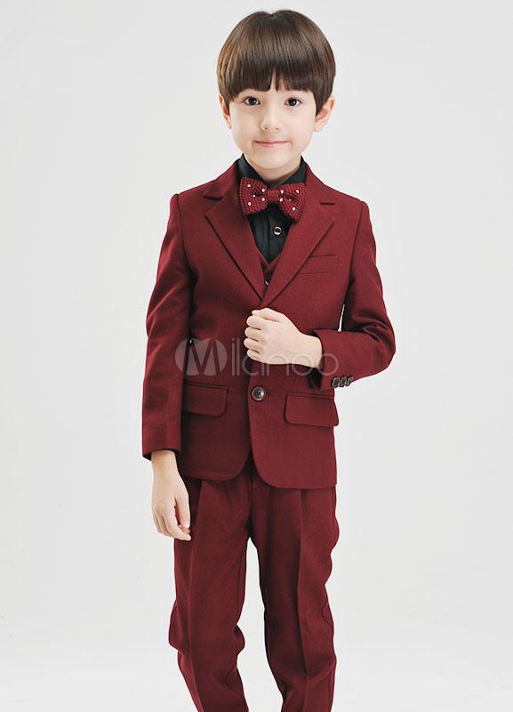 Burgundy Boy's Suit Bow Tie Polyester Children's Suit