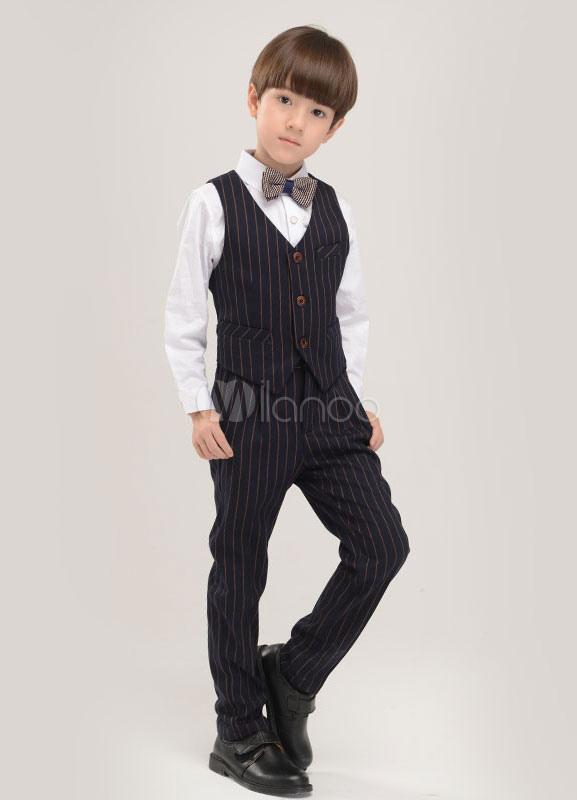 Multicolor Boy's Suit Bow Tie Stripes Polyester Children's Suit
