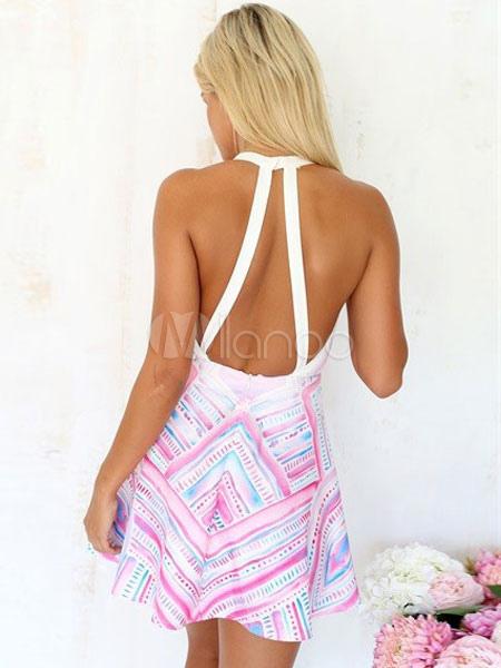 c6e7ba740cc ... Sexy Summer Dress Low-Cut Backless Stripes Print Cotton Dress -No.2