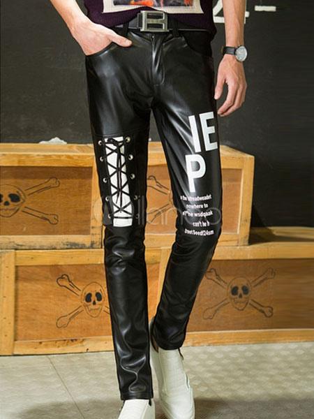 Black Print Straight PU Pants for Men