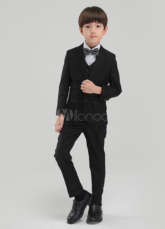 f3958507b ... Traje de niño Conjunto Negro Niños Pantalones de vestir Formal Chaleco  Chaqueta Pajarita Tuxedo Alianza Trajes ...