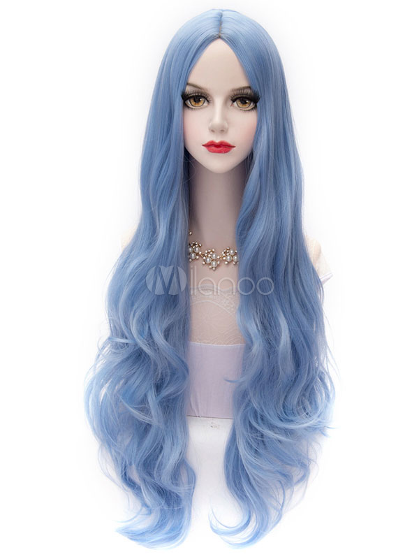 Sky Blue Lolita Middle Parted Curly Long Fiber Wig  Halloween