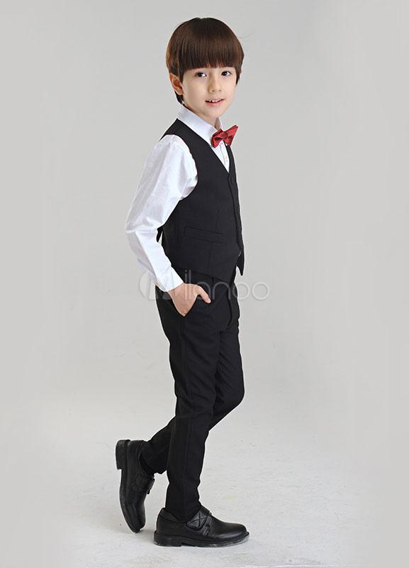2db43476f ... Traje para niños de 4 piezas camisa chaleco pajarita pantalones-No.3 ...
