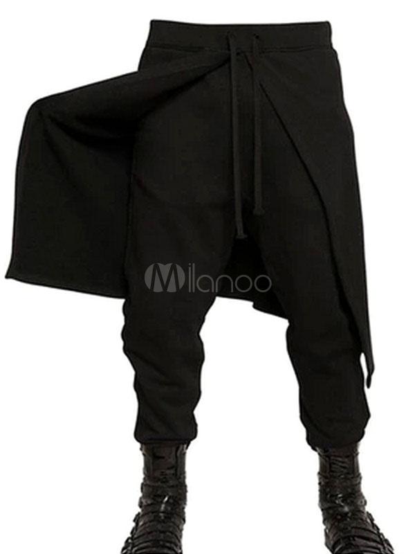 Algodón Hombres Que De Negro El Bombacho Formaba Pantalón Para 5Aj43RL