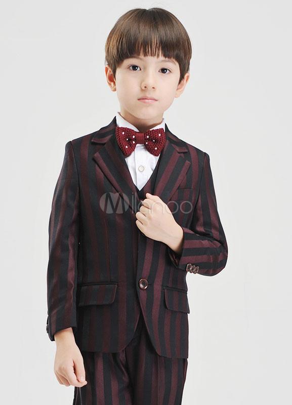 Multicolor Boy's Suit Stripes Polka Dot Polyester Children's Suit