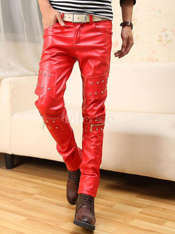 Red Rivets Straight PU Pants for Men