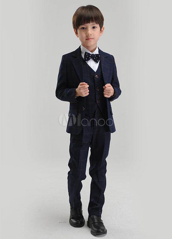 Boy Suit Set Dark Navy Ring Bearer Suits Kids Pants Waistcoat Shirt Bow Tie Jacket Suit For Wedding 5 Pcs