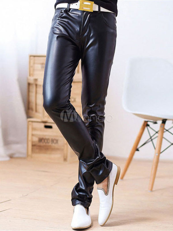 Pant For Men PU Black Straight Leg Pant