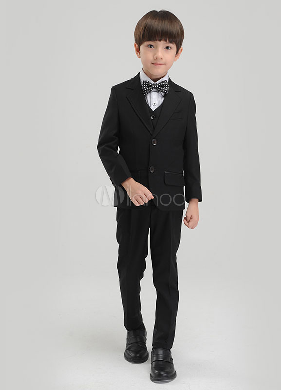 5ac494a9f Traje de niño Conjunto Negro Niños Pantalones de vestir Formal Chaleco  Chaqueta Pajarita Tuxedo Alianza Trajes ...