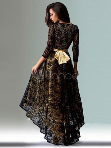 1b8fb44b90c61 Abito lungo pizzo abito nero abito alto basso manica tre quarti manica  donne-No.