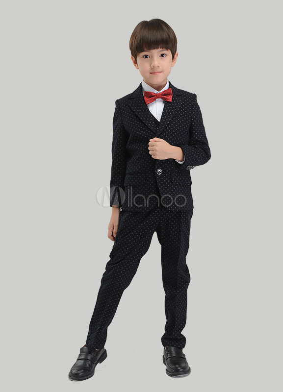 Multicolor Trendy Boy's Suit Bow Tie Polyester Children's Suit