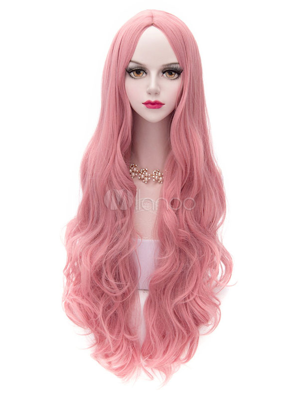 Pink Lolita Middle Parted Curly Long Fiber Wig  Halloween