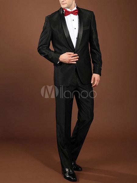 Black Groom Buttons Satin Trendy Suit for Men