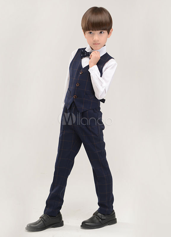 Traje para niños de 4 piezas camisa chaleco pajarita pantalones-No.1 ... f79378b55029
