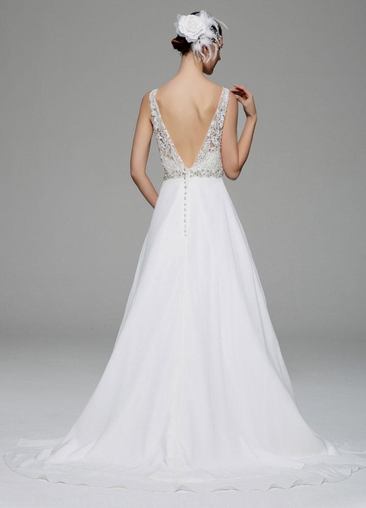 robe de mariage ivoire illusion strass dentelle robe de