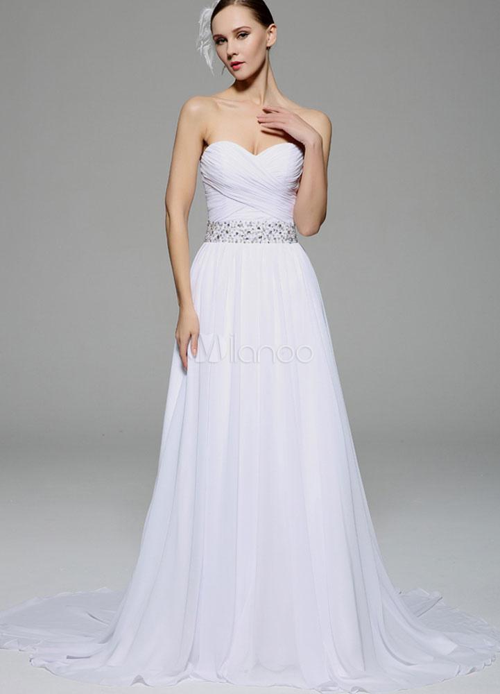 c4290916dd1 Белое свадебное платье без бретелек створки спинки бантом шифон свадебное  платье-No.1 ...