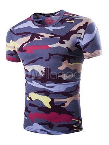 Men Summer T Shirt Camo Print Short Sleeve Casual T Shirt