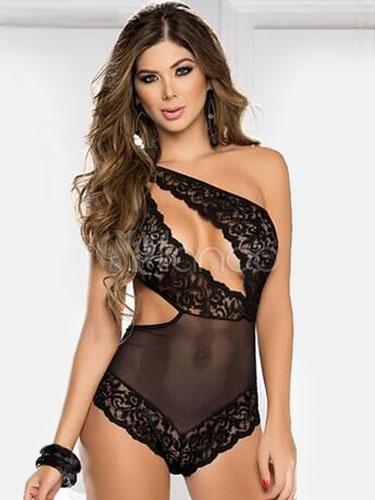 Black Teddies Asymmetric One-Shoulder Cut-Out Lace Acrylic Chemise Cheap clothes, free shipping worldwide