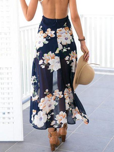 11ee4236d Falda de verano florista 2019 estilo alto y bajo larga falda plisada de  chifón
