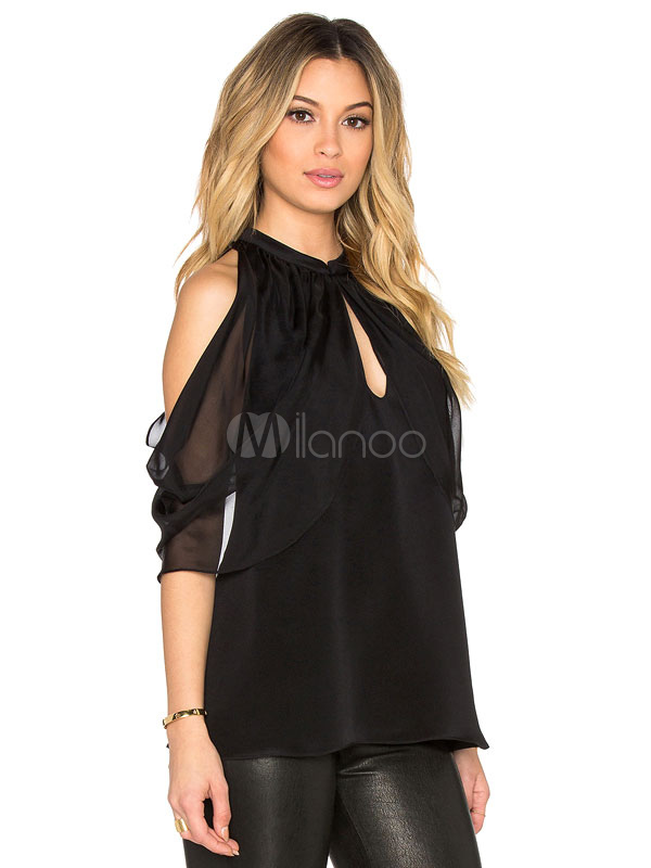 1ff2ba41428ed بلوزة شيفون سوداء بفتحة على الكتف للنساء2019 - Milanoo.com