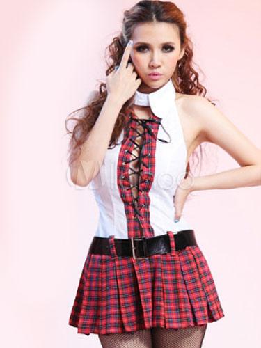 Multicolor Uniform Backless Cut-Out Lace Up Plaid Acrylic Club Dress