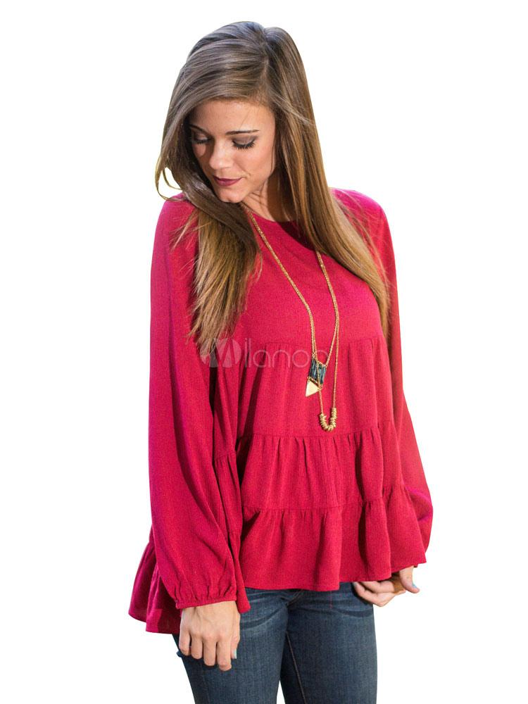 nuovo concetto a1f91 48111 Camicetta rossa maniche lunghe Ruffles Top acrilico per le donne
