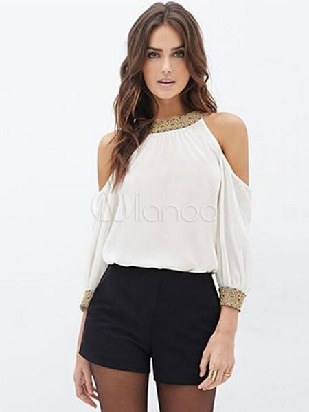 Women White Blouse 2018 Cold Shoulder Stand Collar Chiffon Summer Top