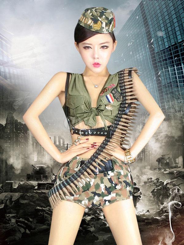 Unifrom del ejército multicolor recortada camuflaje algodón traje uniforme  militar para las mujeres-No. 5741a354ac6