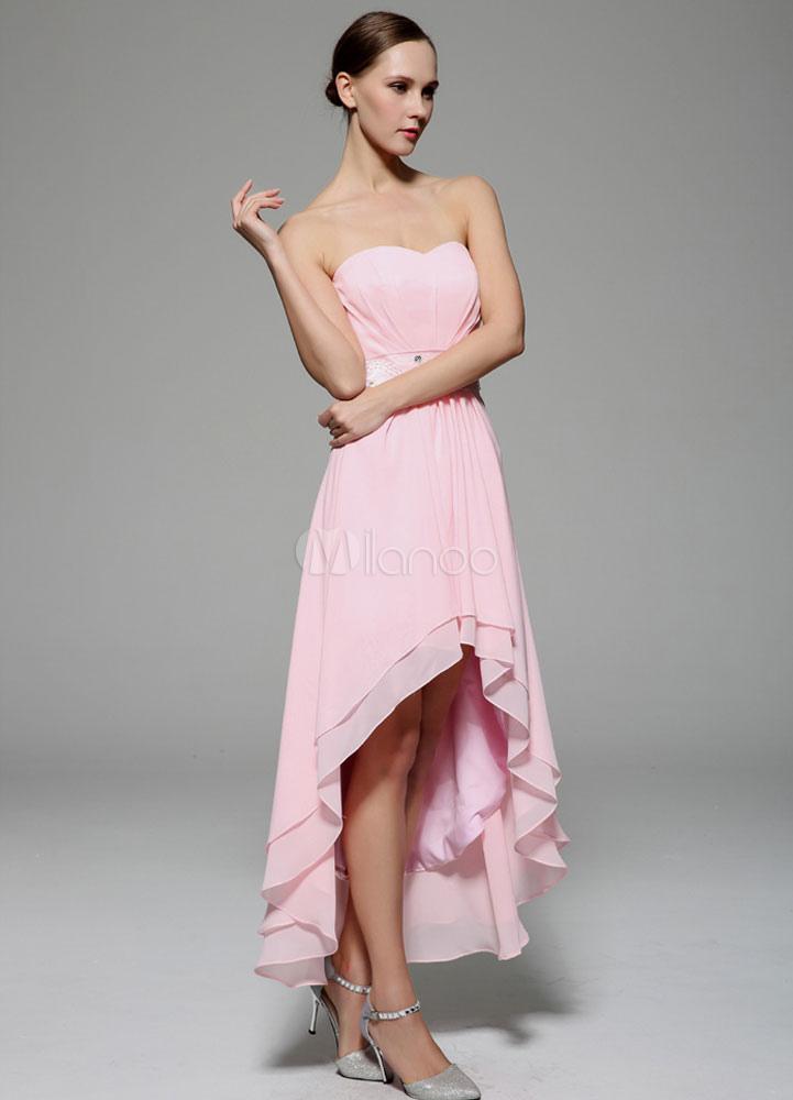 Rosa Party Kleid trägerlos Spannweitenlinien asymmetrische ...