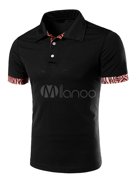 Black Polo Shirt Print Cotton T-Shirt for Men