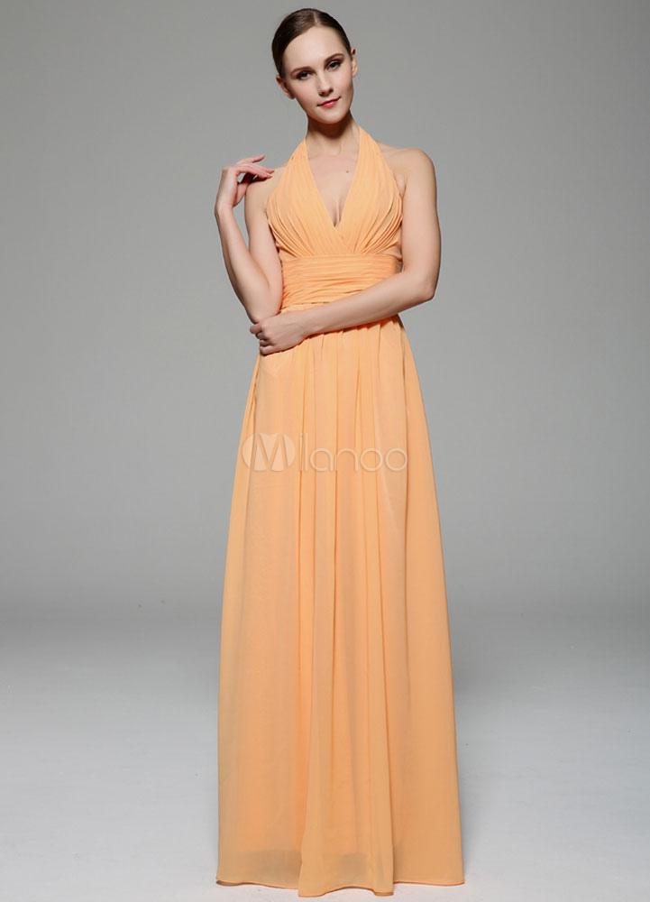 Orange Prom Dress Neckholder rückenfreie Deep-V plissierten Chiffon ...