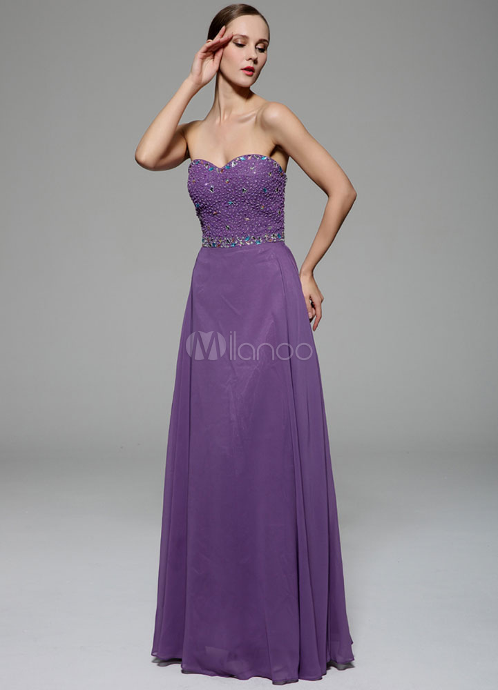 Vestido de gala escote palabra honor pedrería sin mangas - Milanoo.com