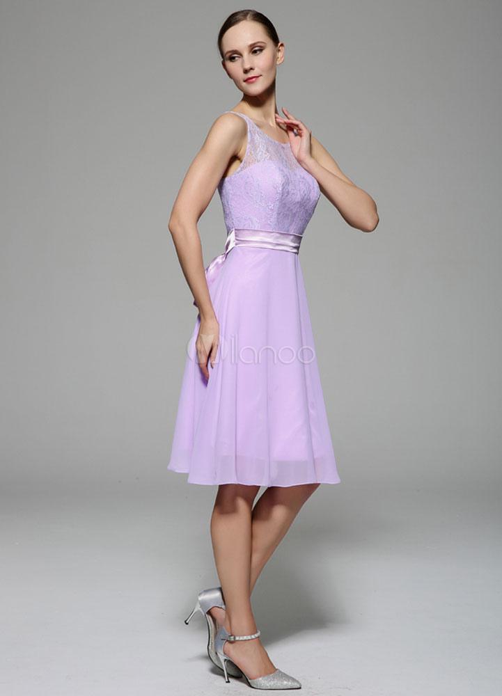 Vestido de cóctel escote transparente lazo sin mangas - Milanoo.com