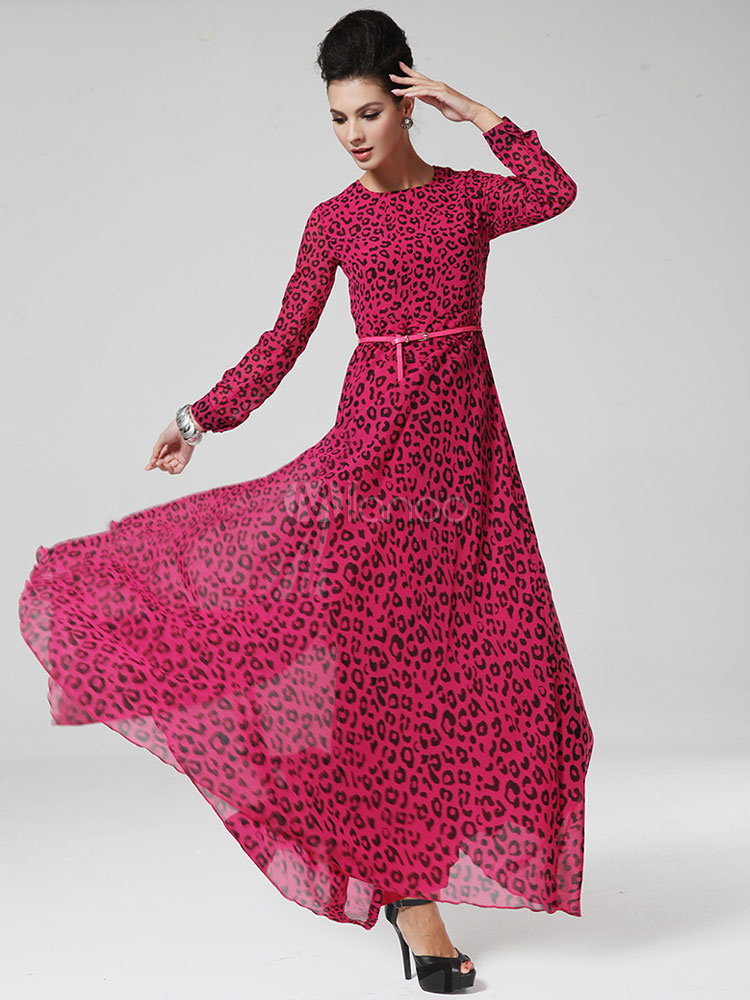 Rose Red Maxi Dress Leopard Print Sash Cotton Dress