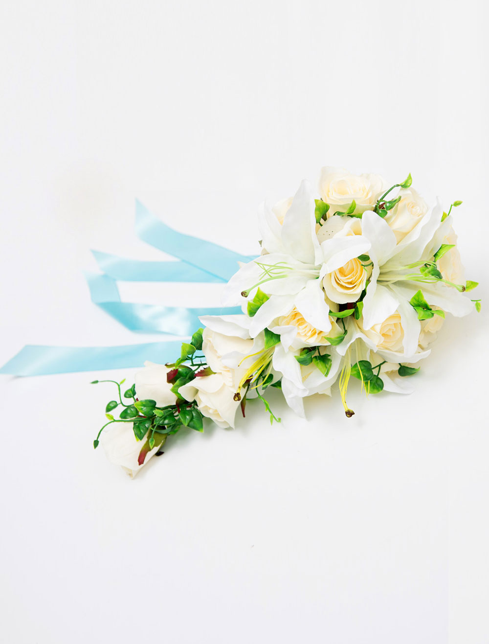 White Bridal Bouquet Rose Lily Wedding Silk Flowers