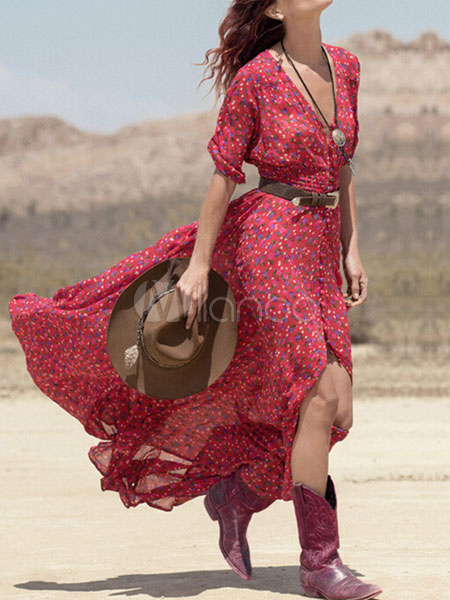 Boho Maxi Dress Women Red Print V Neck Chiffon Summer Dress