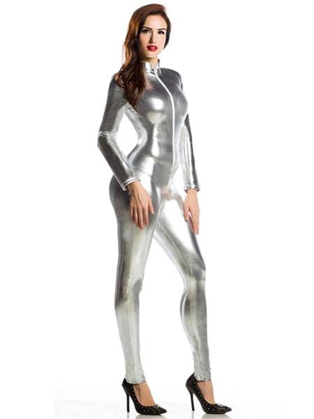 fb496789c95ada ... Glänzend metallisch Silber Zentai schicke Jumpsuit für Frauen  Karneval-No.2 ...
