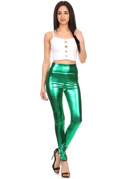 Halloween Green Leggings Shiny Metallic Skinny Pants for Women Halloween