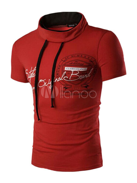 Orange Lace Up T-Shirt Cotton Shaping T-shirt for Men