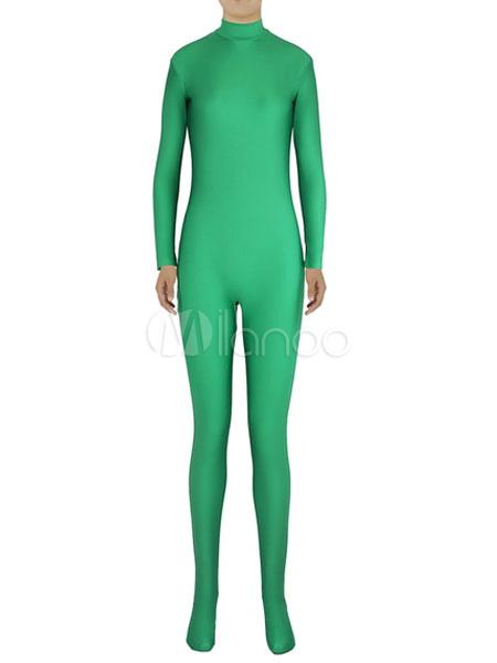 Halloween Green Trendy Zentai Slim Fit Spandex Jumpsuit for Women Halloween