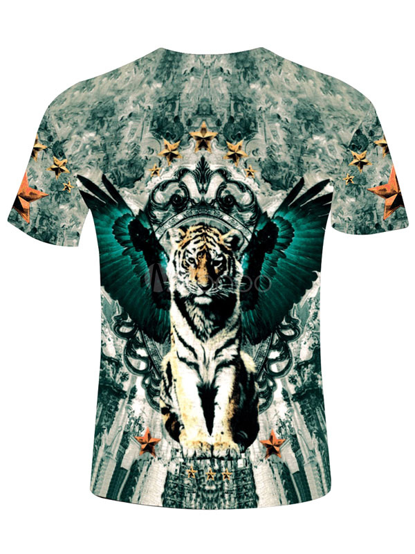 multicolor tiger imprimer t shirt coton impression 3d t shirt pour hommes. Black Bedroom Furniture Sets. Home Design Ideas