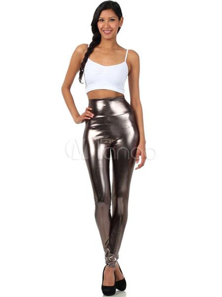 Halloween Gray Leggings Shiny Metallic Skinny Pants for Women Halloween