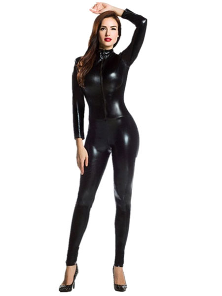 Halloween Black Catsuit Shiny Metallic Catsuit Costume For Women