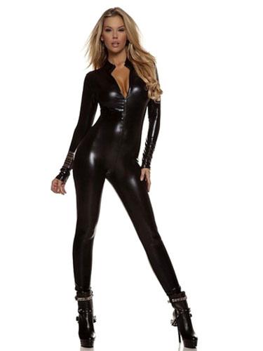 Halloween Black Zentai Deep  V Shiny Metallic Jumpsuit for Women Halloween