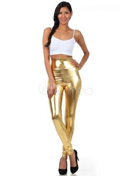 Halloween Gold Leggings Shiny Metallic Skinny Pants for Women Halloween