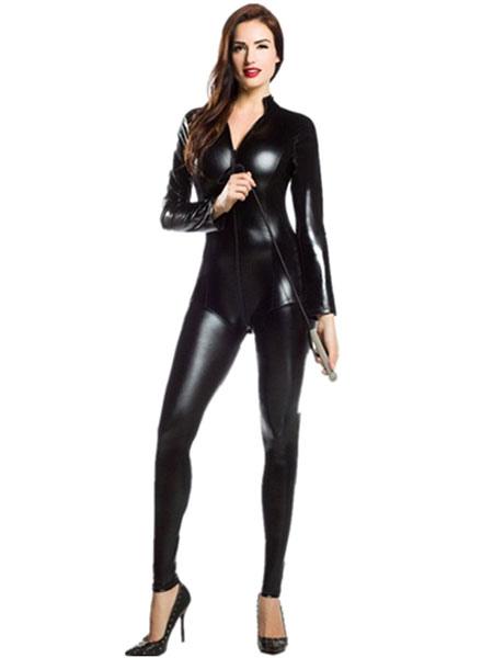 Shiny Black Zentai Metallic Jumpsuit Sexy Halloween Costume Cosplay  Halloween