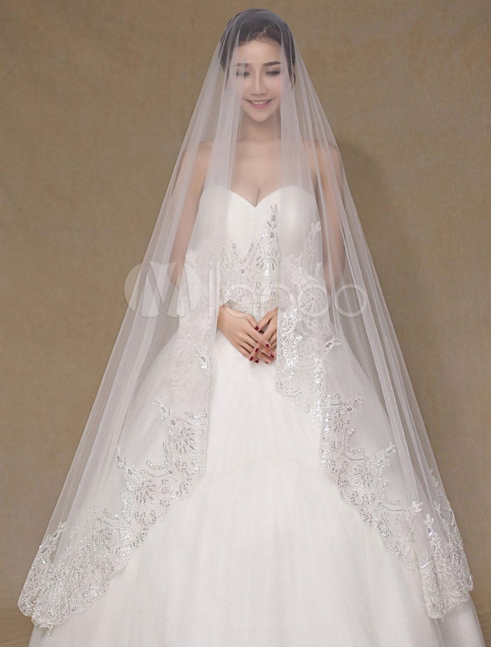 Ivory One-Tier Wedding Veil Applique Tulle Lace Bridal Veil (300cm Length)