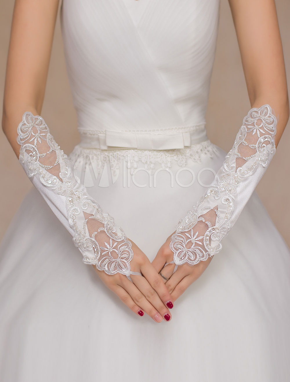 Ivory Wedding Mitten Cut-Out Lace Chic Satin Gloves